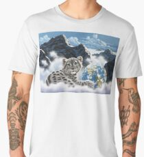 Bed Of Clouds, snow leopard and earth Men's Premium T-Shirt