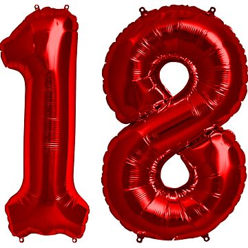 Bright Red 18th Birthday Metallic Helium Balloons Numbers by Birthdates