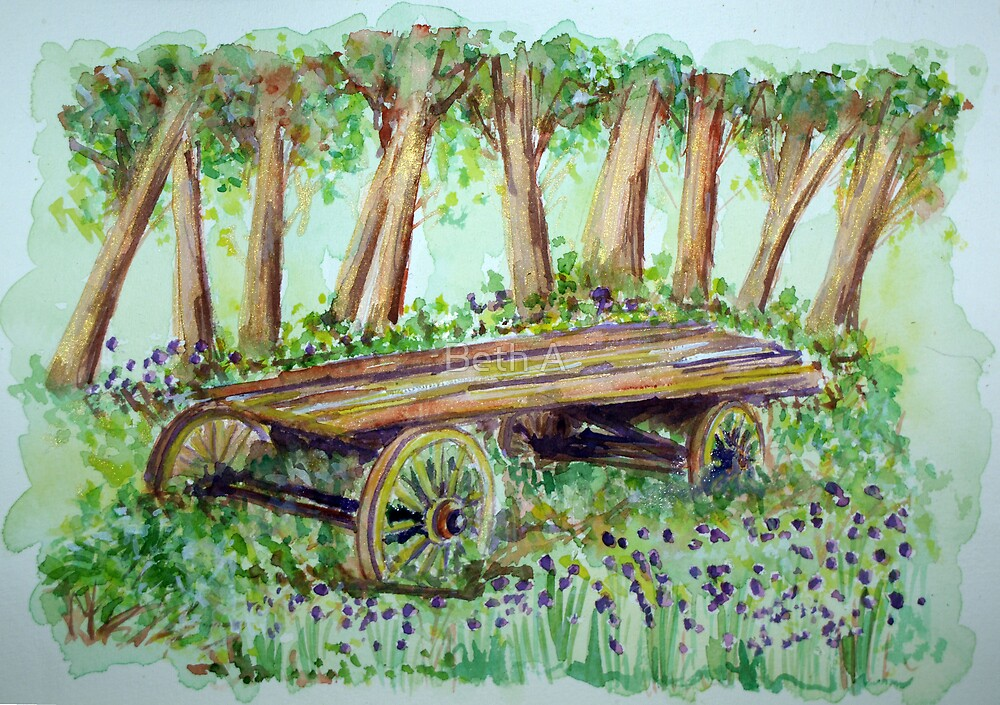 Cart at Foxley Wood - Norfolk by Beth A