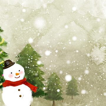 Snowman in the winter forest by Kaylaya