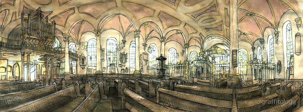 Derby Cathedral Drawing by graffitology
