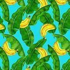 Bananas and leaves watercolor design by Katerina Kirilova