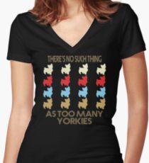 Yorkshire Terrier Dog Lovers - There's No Such Thing As Too Many Yorkshire Terriers - Retro Vintage Style 1970's Women's Fitted V-Neck T-Shirt