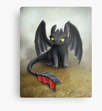 Toothless Dragon inspired from How To train Your Dragon. Metal Print