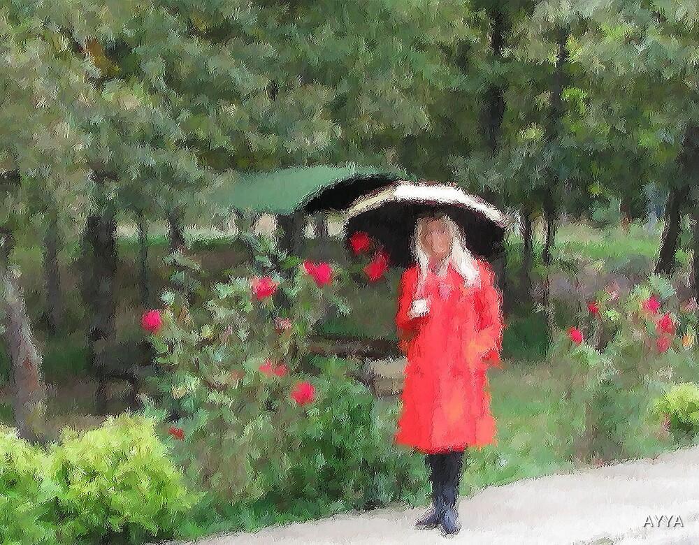 rainy day, red coat by AYYA