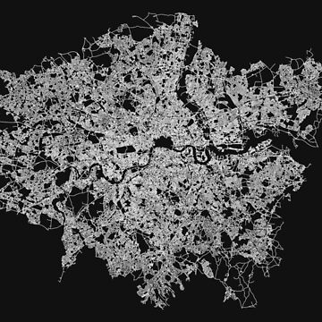 London, England Street Network Map Graphic by ramiro