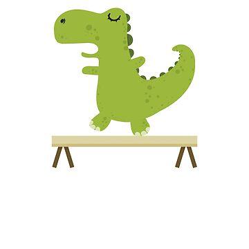 Gymnasaurus - Funny Dinosaur Gymnastics T-Rex TShirt by noirty