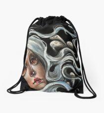 White Spirits :: Pop Surrealism Painting Drawstring Bag