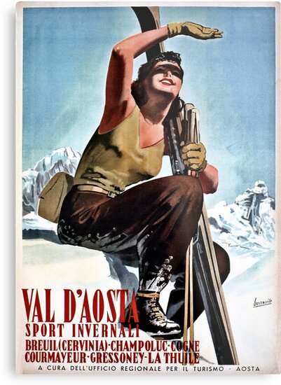 Vintage Italian winter sports travel ad Aosta Valley by aapshop