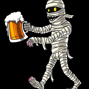Mummy Zombie Beer Drinking Party Funny Halloween by underheaven