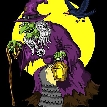 Scary Witch And Raven Funny Halloween by underheaven