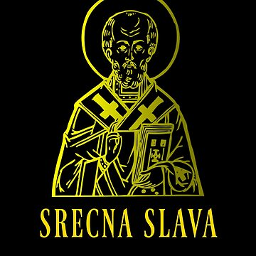 Srecna Slava St Nicholas Christianity Religious Saint Icon Gold Color Design by mrkprints