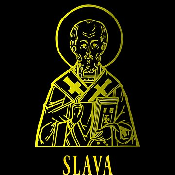 Slava Srecna Slava St Nicholas Christianity Religious Saint Icon Gold Color Design by mrkprints