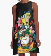Alice in Wonderland Beautiful Illustration T-Shirt A-Line Dress