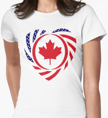 Canadian American Multinational Patriot Flag Series (Heart) T-Shirt