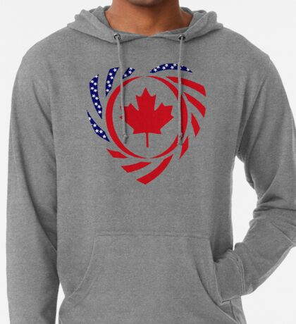 Canadian American Multinational Patriot Flag Series (Heart) Lightweight Hoodie