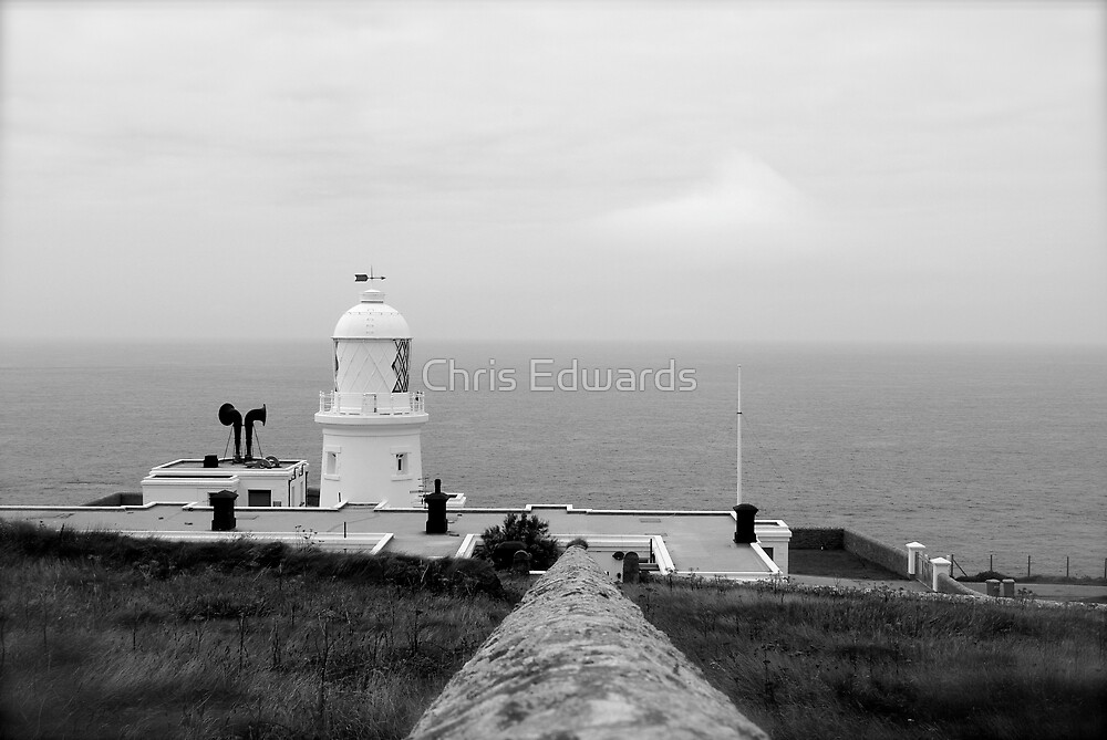Pendeen Lighthouse B&W by Chris Edwards