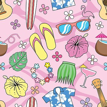 Tropical Hawaiian Pattern Pink by Fangpunk