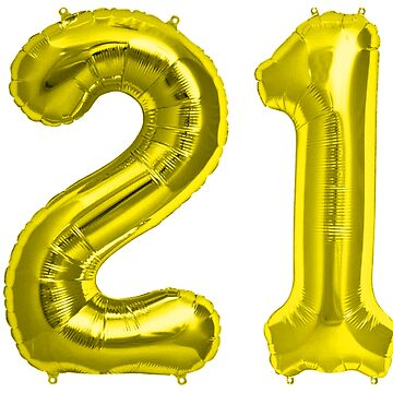 Yellow Gold Grey 21st Birthday Metallic Helium Balloons Numbers by Birthdates