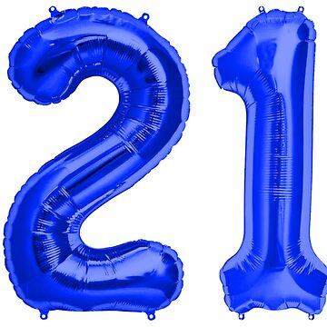 Bright Blue 21st Birthday Metallic Helium Balloons Numbers by Birthdates