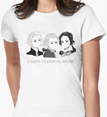 Bach - Mozart - Beethoven im Chibi-Style Tailliertes T-Shirt für Frauen