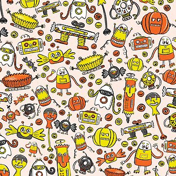 Monster Halloween Candy Bots in Orange, Yellow, Black, & Gray  // Fall Holiday Themed Candy Shaped Robots // Nerdy Halloween by ZirkusDesign
