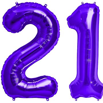 Purple 21st Birthday Metallic Helium Balloons Numbers by Birthdates