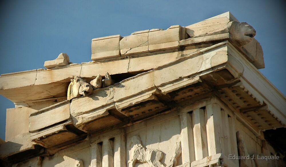 """PARTHENON CORNER""   ACROPOLIS   ATHENS, GREECE by Edward J. Laquale"