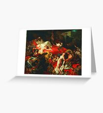 Ferdinand Victor Eugene Delacroix - The Death of Sardanapalus ⛔ HQ quality Greeting Card