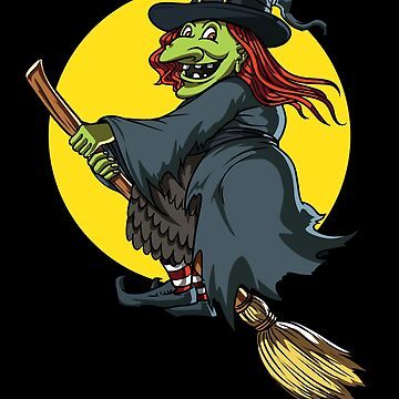 Scary Witch Riding A Broom Funny Halloween by underheaven