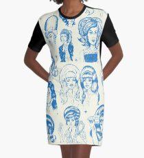 Babes & Bouffants Blau T-Shirt Kleid