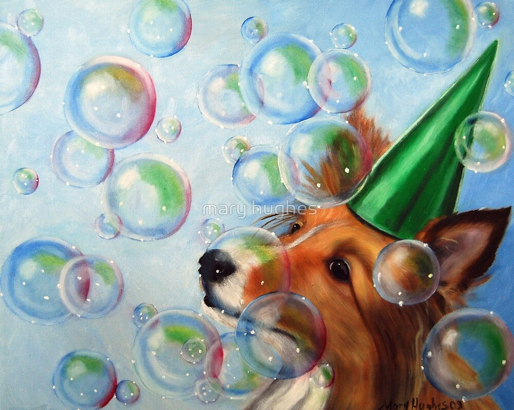 Party Girl Sheltie Dog Bubbles Painting by mary hughes