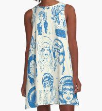 Babes & Bouffants Blau A-Linien Kleid