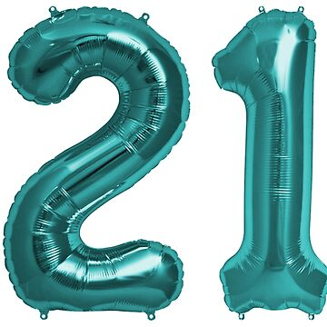 Aqua Blue 21st Birthday Metallic Helium Balloons Numbers by Birthdates