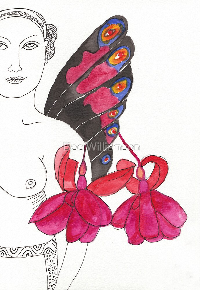Butterfly and fushia by Bee Williamson