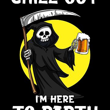 Grim Reaper Skeleton Death  Beer Drinking Party Funny Scary Halloween by underheaven