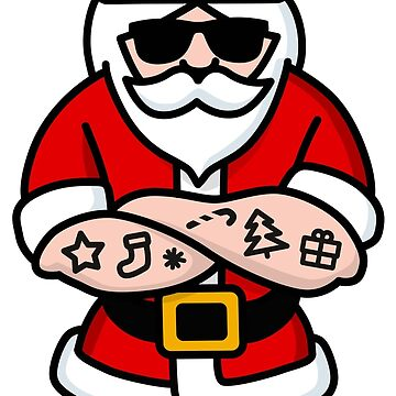Cool Hipster Santa Claus tattoo Christmas Hard Rock Sunglasses by LaundryFactory
