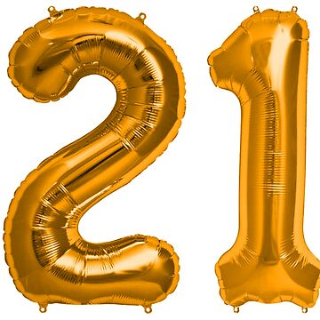 Orange 21st Birthday Metallic Helium Balloons Numbers by Birthdates