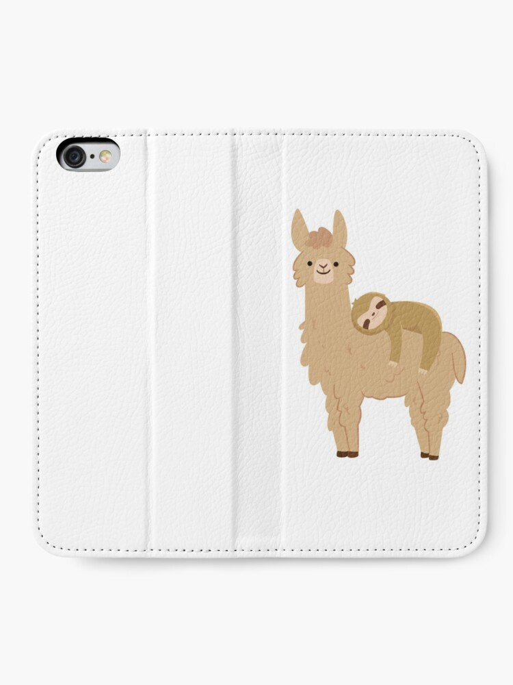 Alternate view of Adorable Sloth Relaxing on a Llama iPhone Wallet
