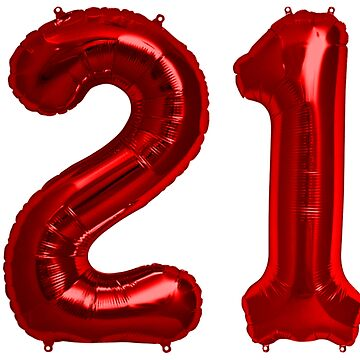 Red 21st Birthday Metallic Helium Balloons Numbers by Birthdates