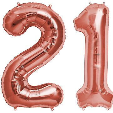 Rose Gold 21st Birthday Metallic Helium Balloons Numbers by Birthdates