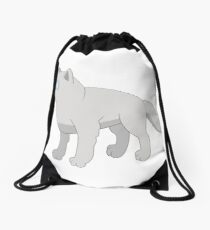 Attentive cartoon polar wolf Drawstring Bag