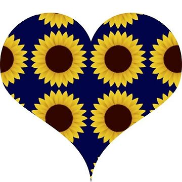 Sunflower Pattern Heart Navy by activepassion