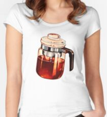 Kaffee Percolator Muster Tailliertes Rundhals-Shirt