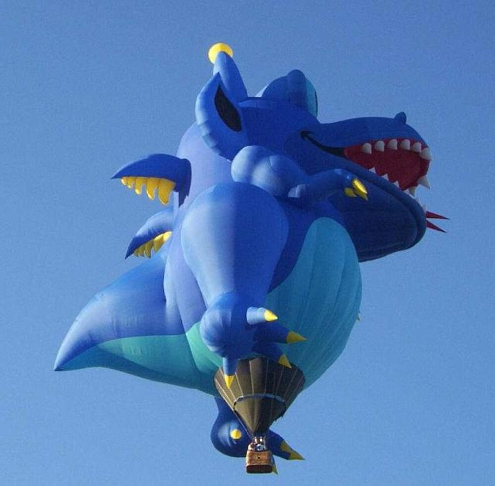Big Blue Monster Hot Air Balloon by Sherry Seely