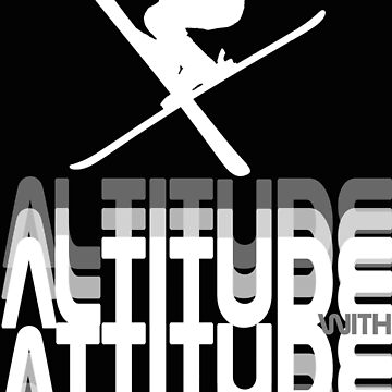 Altitude with Attitude Skier - White | Ski Designs | DopeyArt by DopeyArt