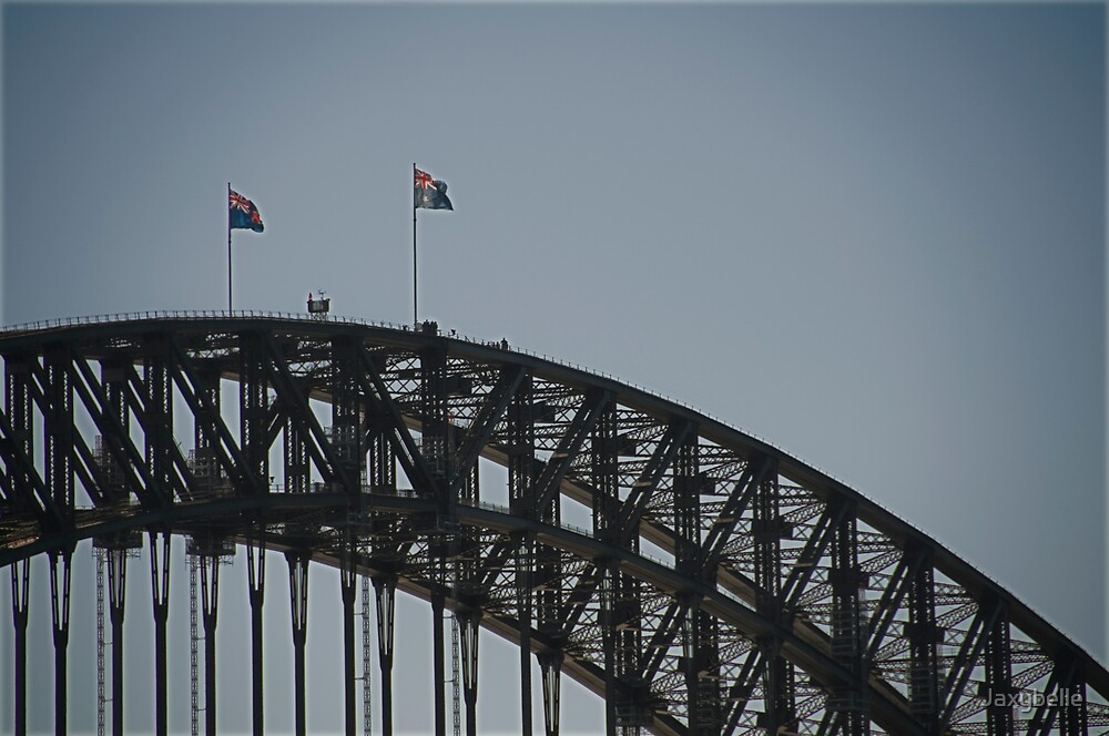 Flags on Sydney Harbour Bridge by Jaxybelle
