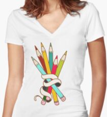 Colored Pencils Bouquet  Women's Fitted V-Neck T-Shirt