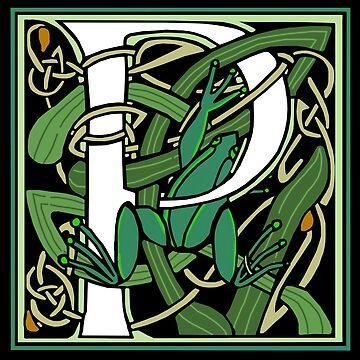 Celtic Nouveau Frog Letter P 2018 by Donnahuntriss