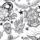 Schwarz-Weiß Punk Tattoo Pattern Design Illustration von Amanda Irene